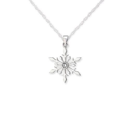 Outlander Inspired Snowflake Silver Pendant With Cubic Zirconia